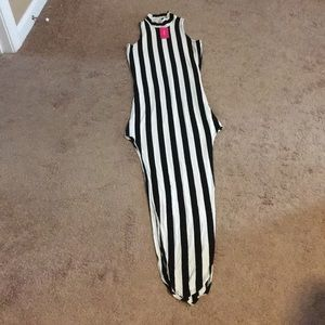 Long Black and White Striped Dress